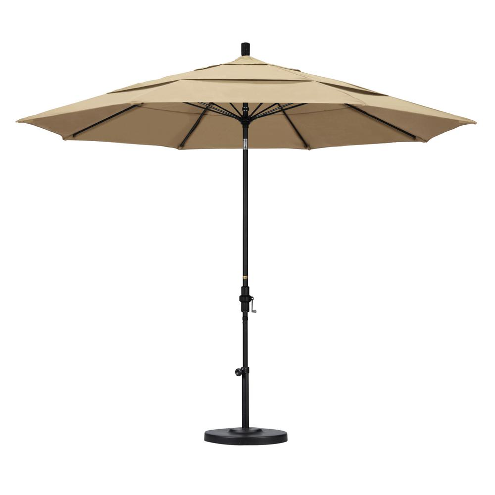 11 ft. Fiberglass Collar Tilt Double Vented Patio Umbrella in Beige
