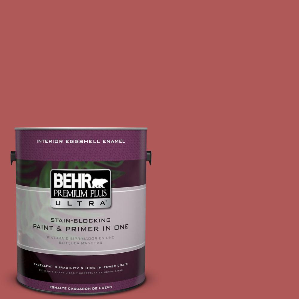 BEHR Premium Plus Ultra 1-gal. #160D-6 Pottery Red Eggshell Enamel Interior Paint