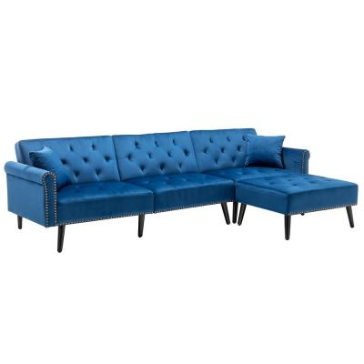 115 in. Dark Blue Velvet 3-Seater Full Sleeper Sectional Sofa Bed with Tapered Legs