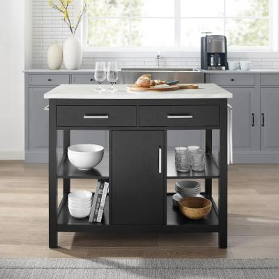 Audrey Black Kitchen Island with Faux Marble Top
