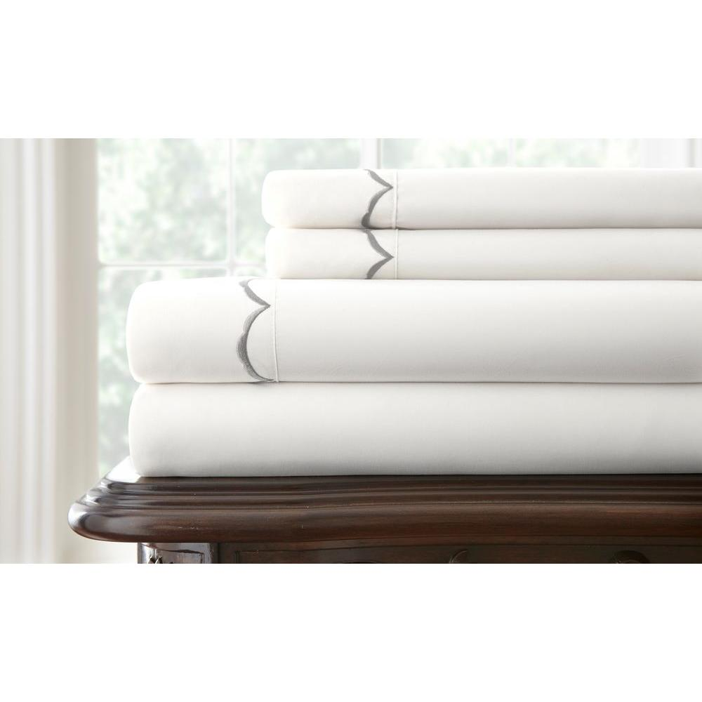 Pacific Coast Textiles Easy Care Scallop Embroidered White Hem King Sheet Set (4-Piece)