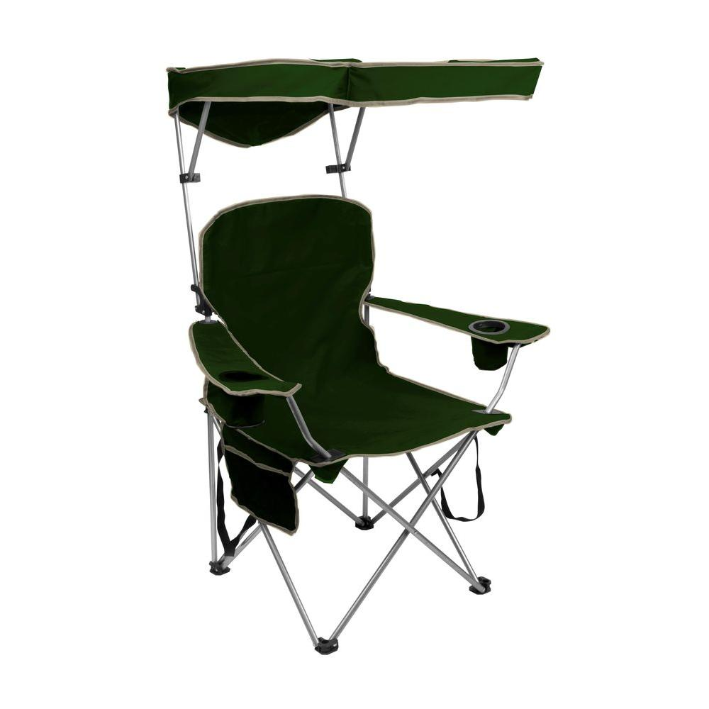 Beau Quik Shade Forest Green Folding Patio Chair With Sun Shade