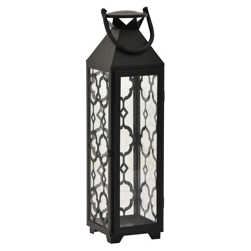20.75 in. Black Metal Decorative Lantern