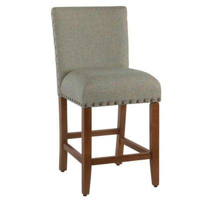 Upholstered 24 in. Vapor Teal Bar Stool