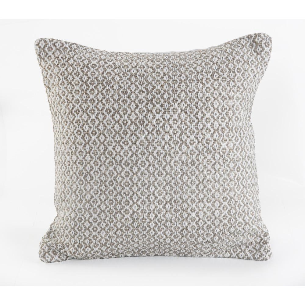 Petite Diamond Beige and White Geometric Hypoallergenic Polyester 18 in. x 18 in. Throw Pillow