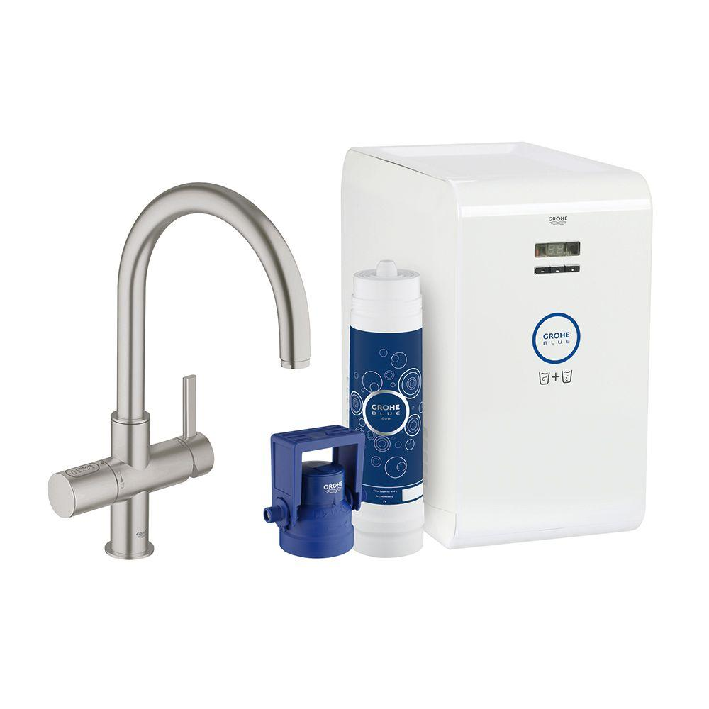 GROHE Blue Chilled and Sparkling 2-Handle Standard Kitchen Faucet in SuperSteel-31251DC1 - The ...