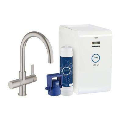 Blue Chilled & Sparkling 2-Handle Standard Kitchen Faucet in SuperSteel