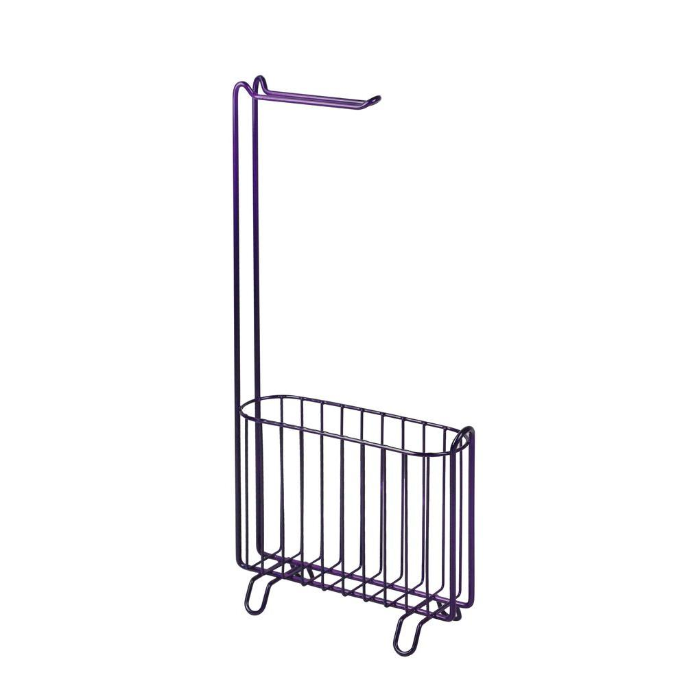 Hopeful Freestanding Toilet Paper Holder With Magazine Rack In Purple