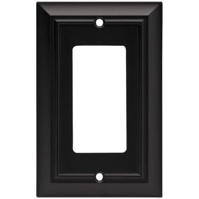 Black 1-Gang Decorator/Rocker Wall Plate (1-Pack)