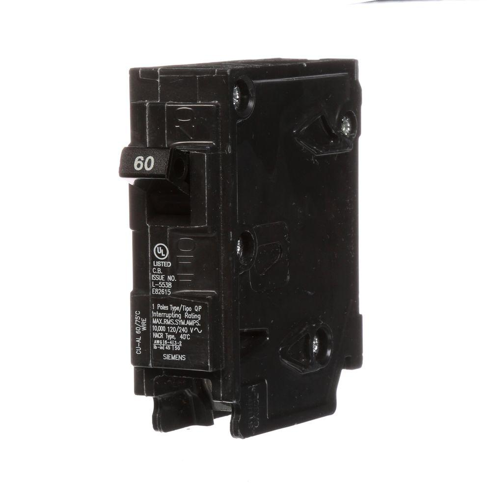 siemens 60 amp single pole type qp circuit breaker q160 the home depot. Black Bedroom Furniture Sets. Home Design Ideas
