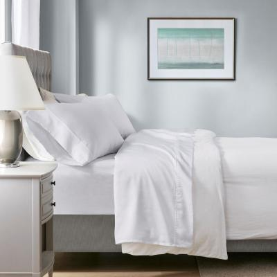 1000 Thread Count Heiq 4-Piece White Cotton Blend Solid King Anti-Microbial Sheet Set