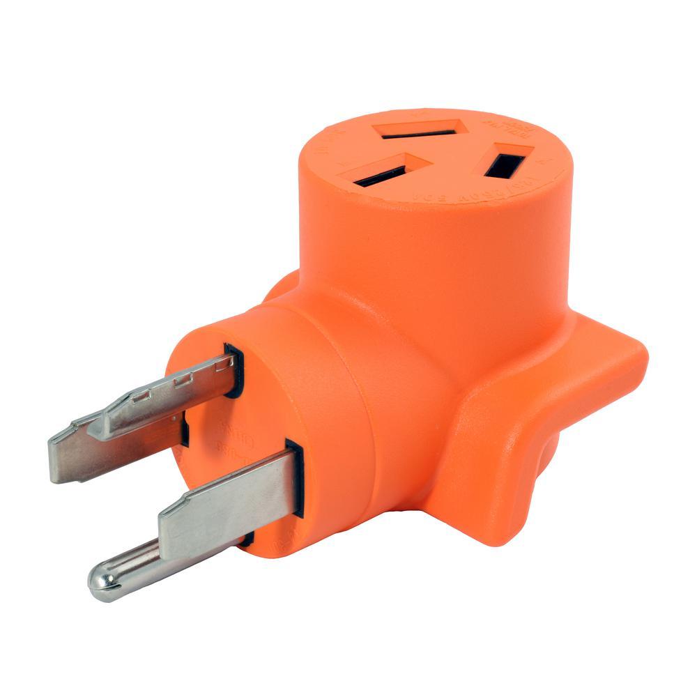 30 Amp 4-Prong 14-30P Dryer Plug to 10-50R 50 Amp 125/250-Volt Welder Adapter