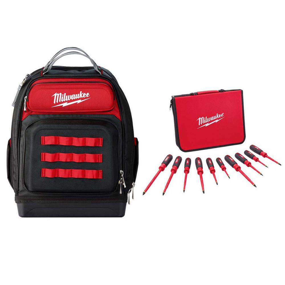 Milwaukee 15 in. Ultimate Jobsite Backpack w/ 1000-Volt Insulated Screwdriver Set and Case (10-Piece)