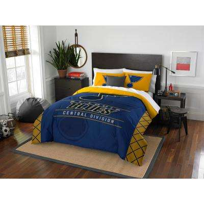 Blues Draft 3-Piece Multi-Color Polyester Full/Queen Comforter Set