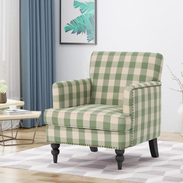 Noble House Harrison Green Checkerboard Fabric Club Chair With Stud Accents 42698 The Home Depot
