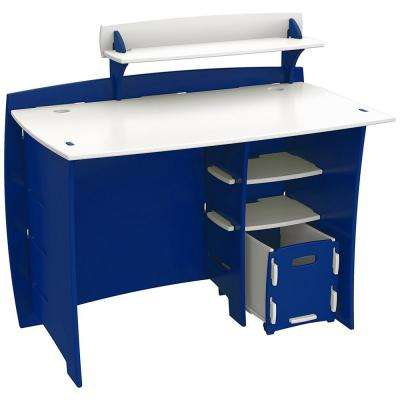 Kid's Desk with Accessory Shelf and File Cart in Race Car Collection Blue and White Finish