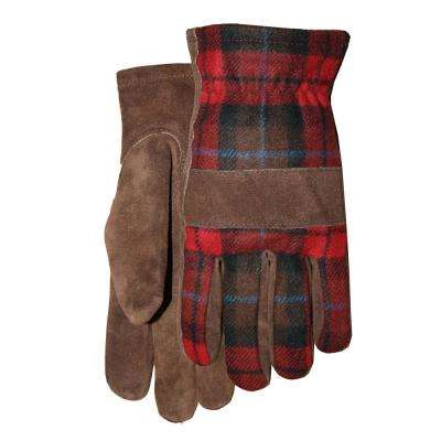 Brown Leather Red Plaid Wool Back