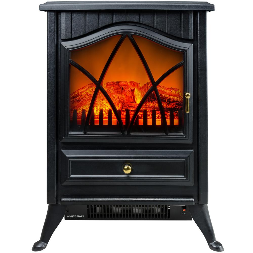 16 in. Freestanding Electric Fireplace Stove Heater in Black with Vintage