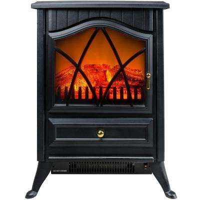 16 in. Freestanding Electric Fireplace Stove Heater in Black with Vintage Glass Door, Realistic Flame and Logs