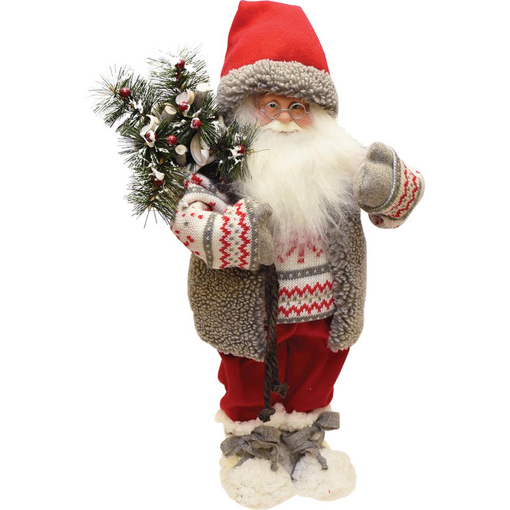 Northlight 19 in. Santa in Winter Vest with Sack of Pine Christmas ...