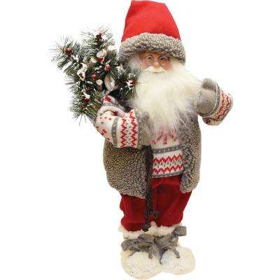 19 in. Santa in Winter Vest with Sack of Pine Christmas Figure Decoration