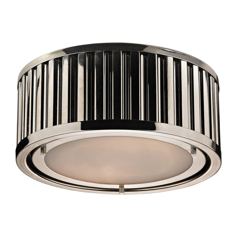 Munsey Park Collection 2-Light Polished Nickel LED Flushmount
