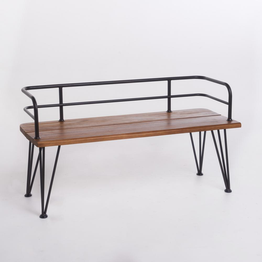 Noble House Calista 48 in. Industrial Rustic Finished Iron and Teak  Finished Acacia Wood Outdoor Bench