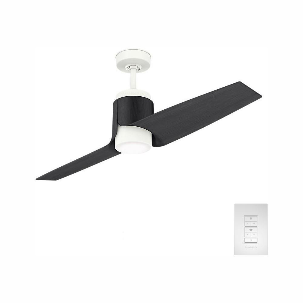 Casablanca Aya 54 in. LED Outdoor Wi-Fi Enabled Porcelain White/Black Ash Blades Ceiling Fan with Light Kit and Handheld Remote