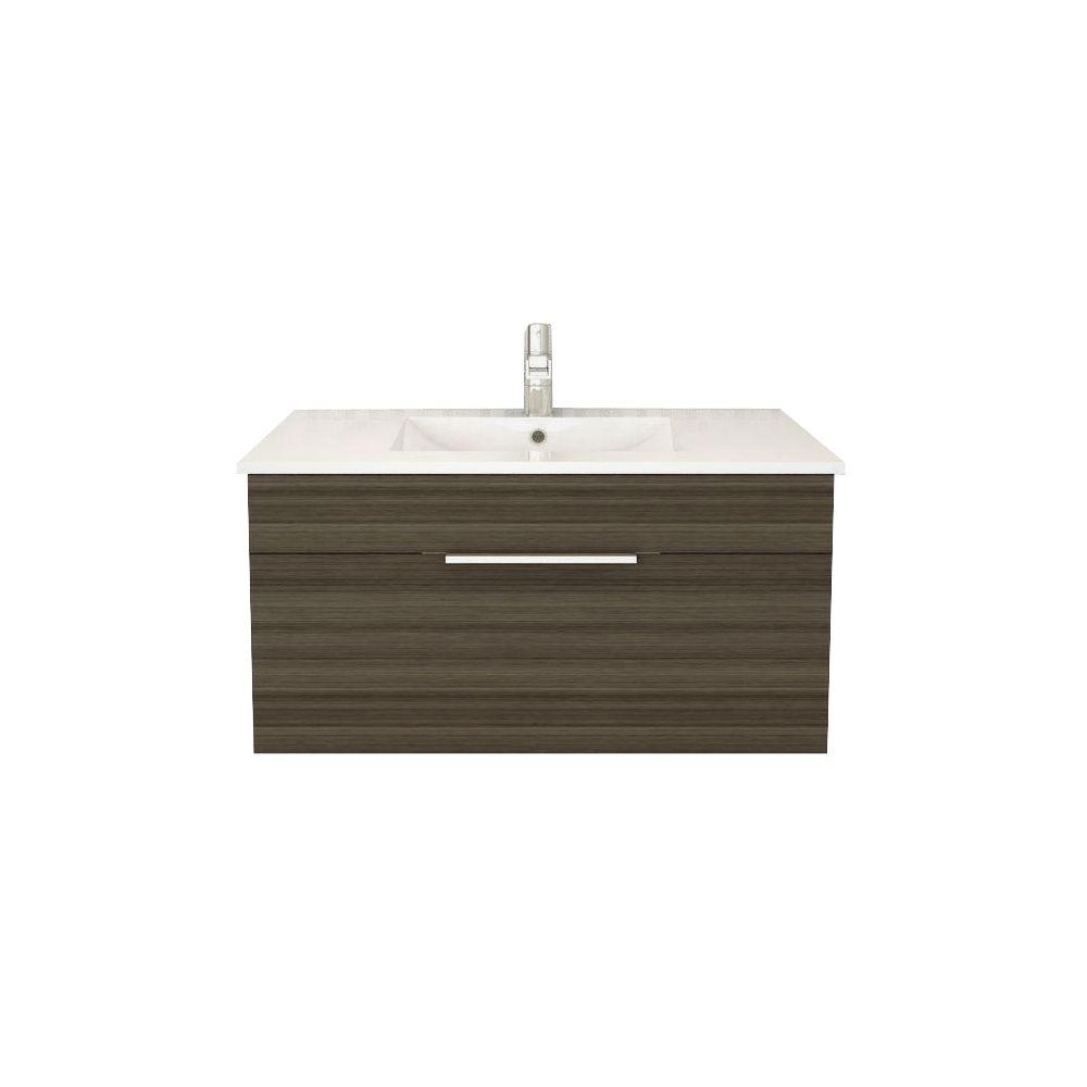 Cutler Kitchen & Bath Textures Collection 36 in. W Vanity in Spring Blossom with Acrylic Sink in White