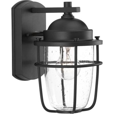Holcombe Collection 1-Light Black 10.6 in. Outdoor Wall Lantern Sconce
