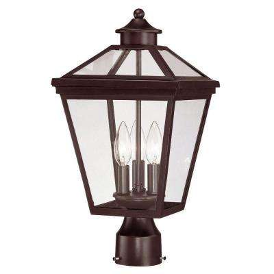 Outdoor English Bronze Post Mount Lantern