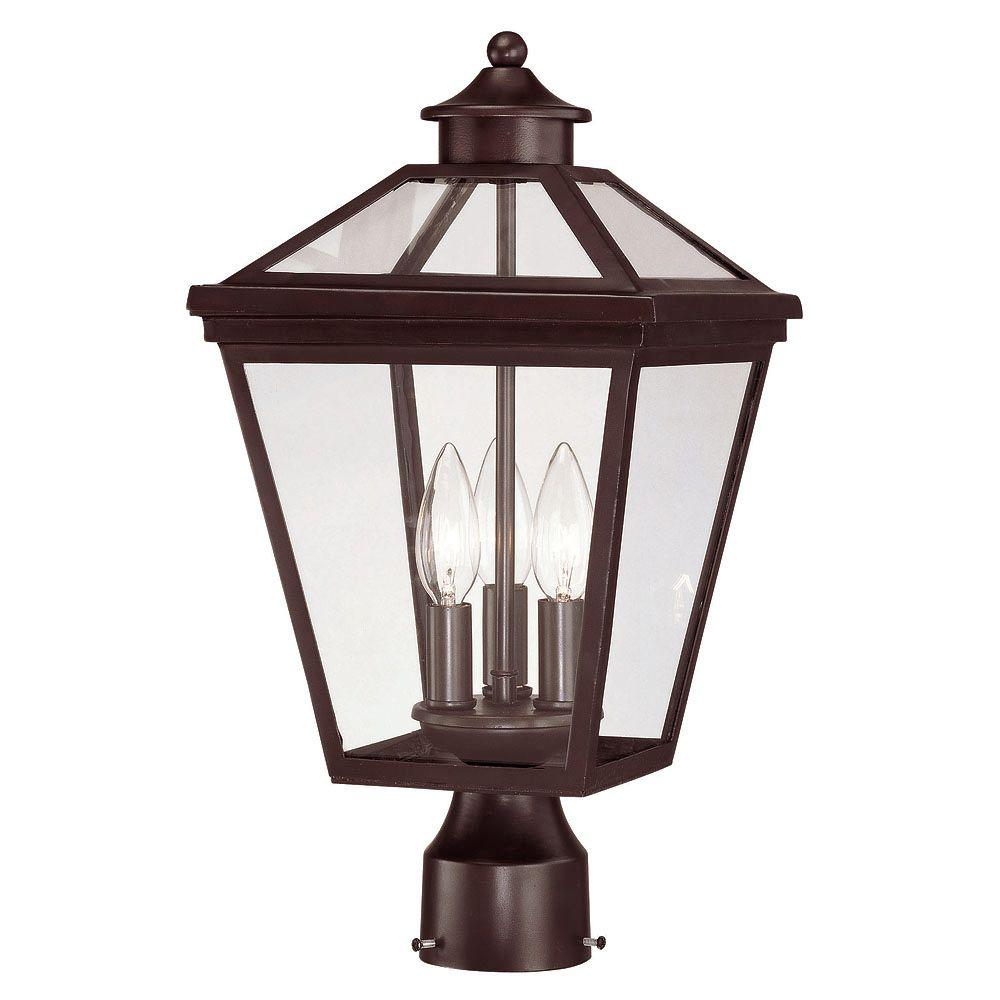Outdoor Post Lights At Home Depot: Illumine Outdoor English Bronze Post Mount Lantern-CLI