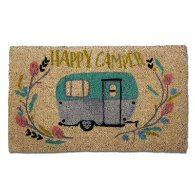 Happy Camper 18 in. x 30 in. Coir Door Mat