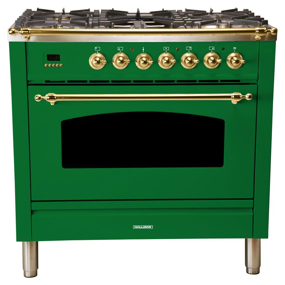 36 in. 3.55 cu. ft. Single Oven Dual Fuel Italian Range True Convection, 5 Burners, Griddle, Brass Trim in Emerald Green