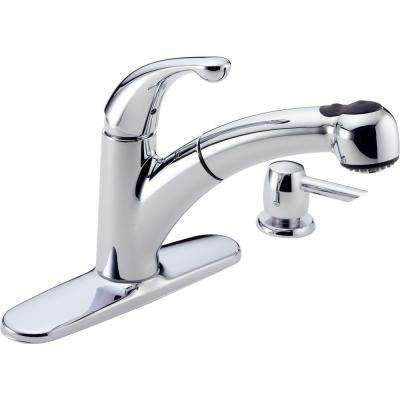 Palo Single-Handle Pull-Out Sprayer Kitchen Faucet with Soap Dispenser in Chrome