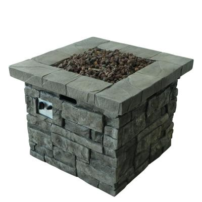 Xiomara 30 in. x 24 in. Square MGO Propane Fire Pit in Grey