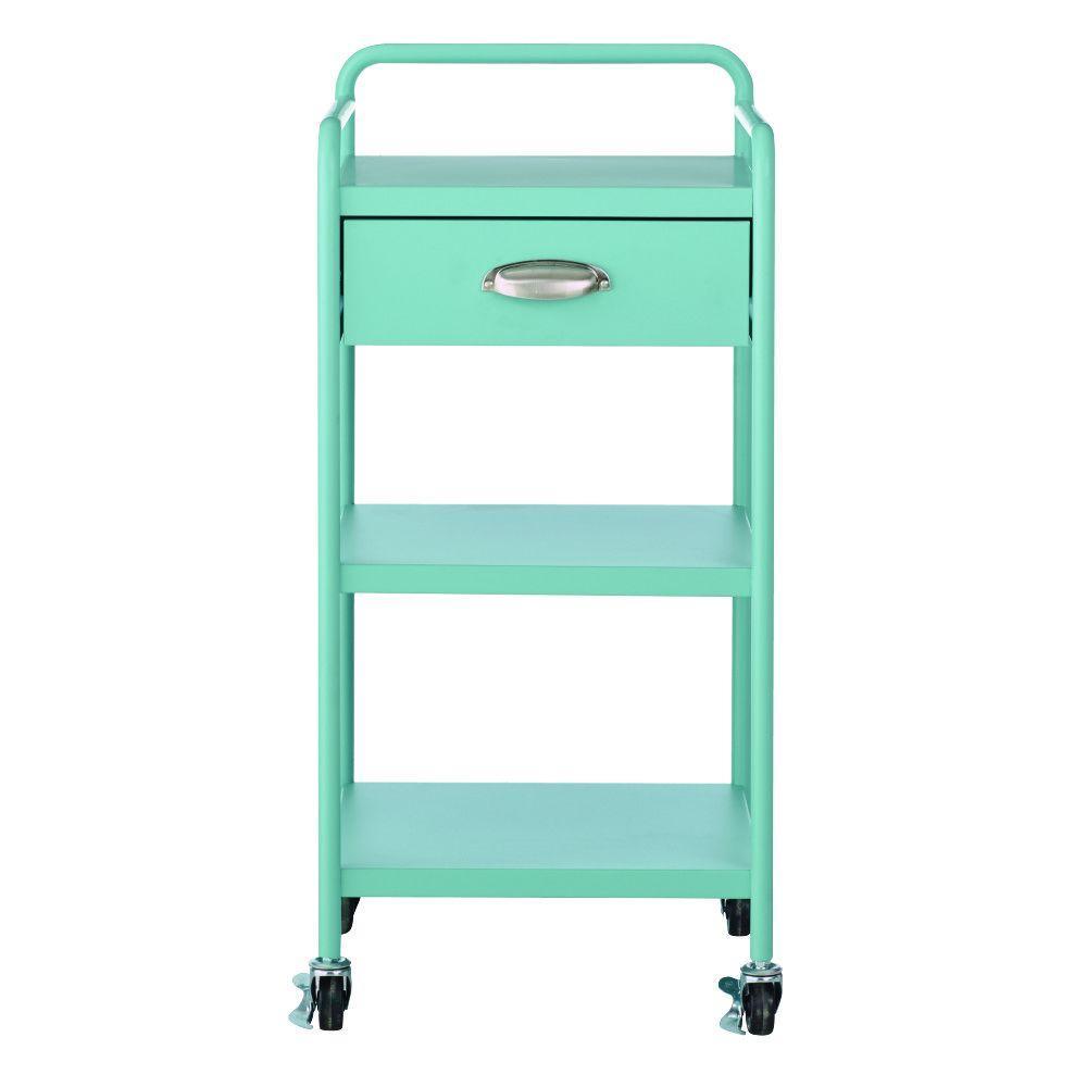 Steel 1-Drawer Cart in Matte Blue