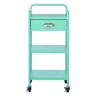 Steel 1-Drawer Cart in Matte Blue