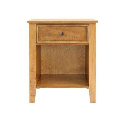 Rigby 1 Drawer Honey Wood Nightstand (22 in W. X 26 in H.)