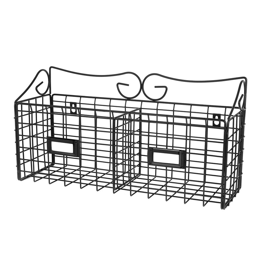 3d288eb41be AdirHome 17 in. x 8.9 in. Wire Mail Double Slot Wall Mounted Basket ...
