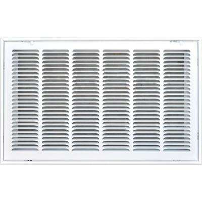14 in. x 30 in. Return Air Vent Filter Grille with Fixed Blades, White