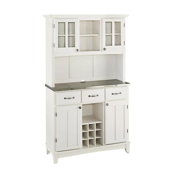 Sideboard Buffet Servers with Stainless Top and Hutch White - Home Styles