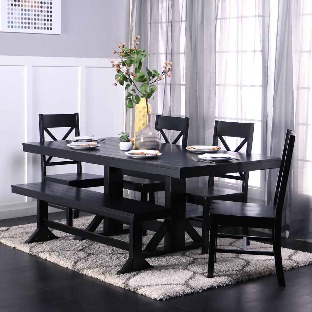 Black Dining Room Set: Walker Edison Furniture Company Millwright 6-Piece Black