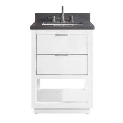 Allie 25 in. W x 22 in. D Bath Vanity in White with Silver Trim with Quartz Vanity Top in Gray with White Basin