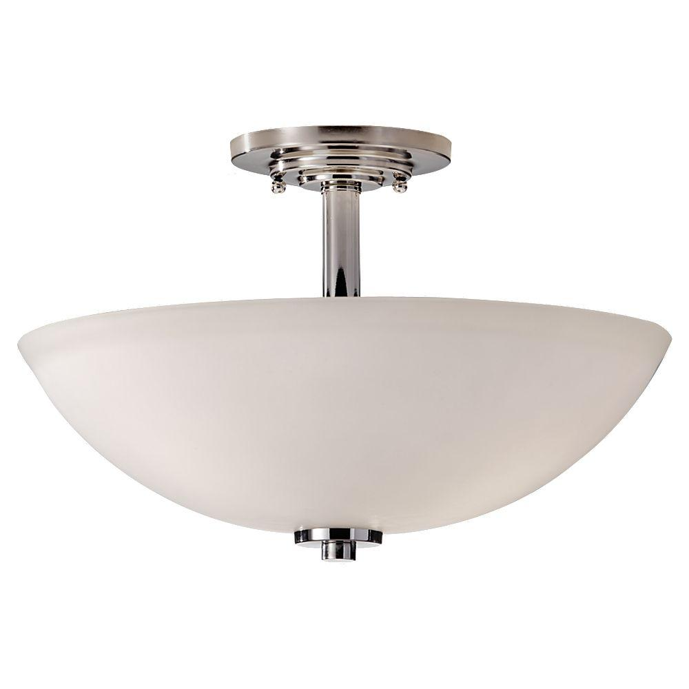 Feiss Malibu 14 97 In W 3 Light Polished Nickel Contemporary Semi Flush Mount Ceiling With Opal Etched Gl Shade