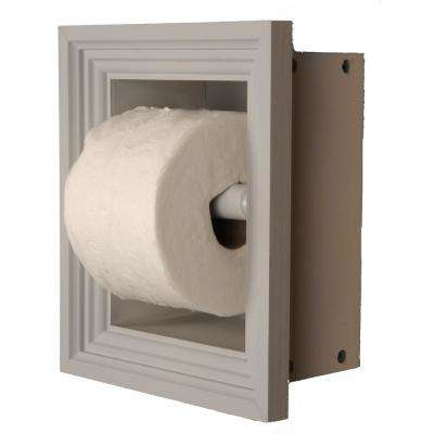 Newton Recessed Toilet Paper Holder in Primed with Newport Frame in Gray