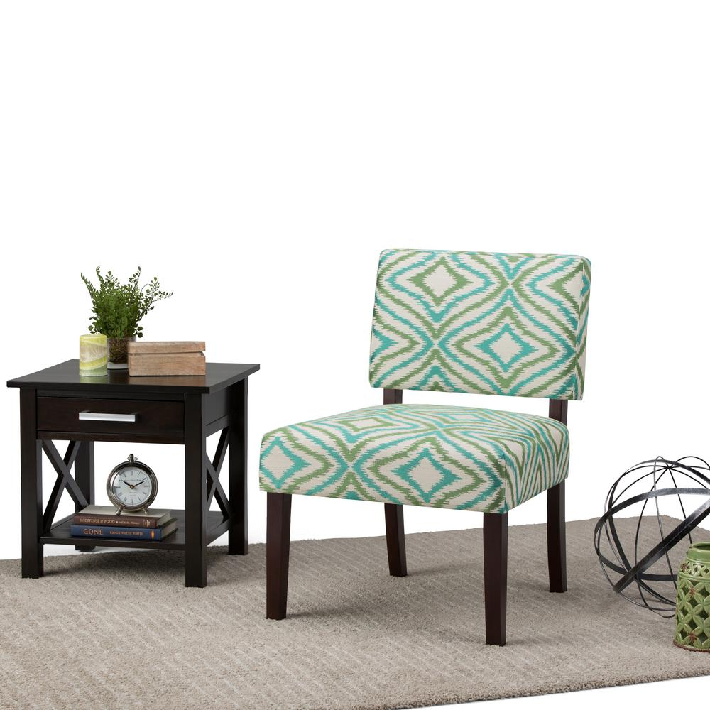 Green Orange Pattern Accent Chair: Simpli Home Virginia Green Fabric Slipper Chair-AXCCHR-005