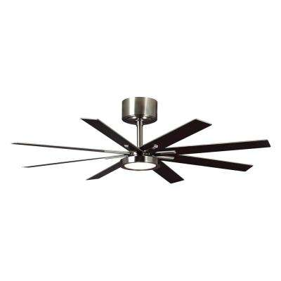60 in. LED Indoor Brushed Steel Ceiling Fan with Light Kit