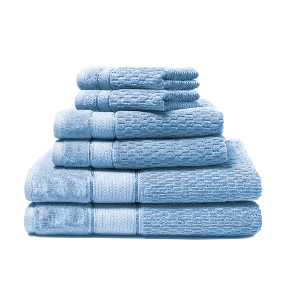 Royale 6-Piece 100% Turkish Cotton Bath Towel Set in Cornflower
