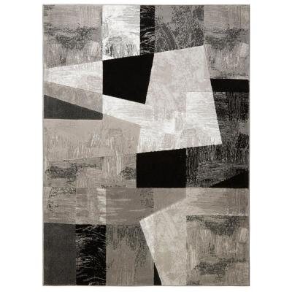 Catalina Gray/Black/Ivory 7 ft. 10 in. x 10 ft. 2 in. Indoor Area Rug